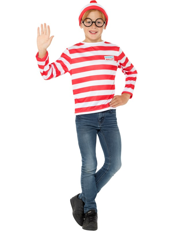 Girls boys Wheres Wally Kit costume kids school book week fancy dress outfit