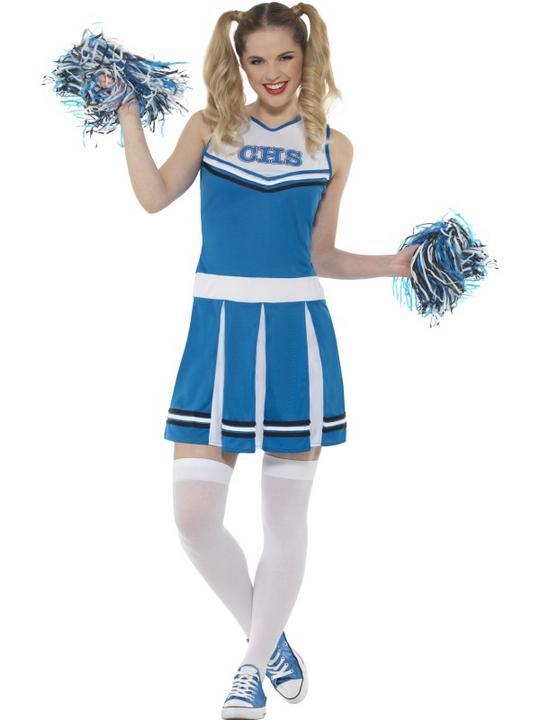 Cheerleader Women's Fancy Dress Costume Thumbnail 1