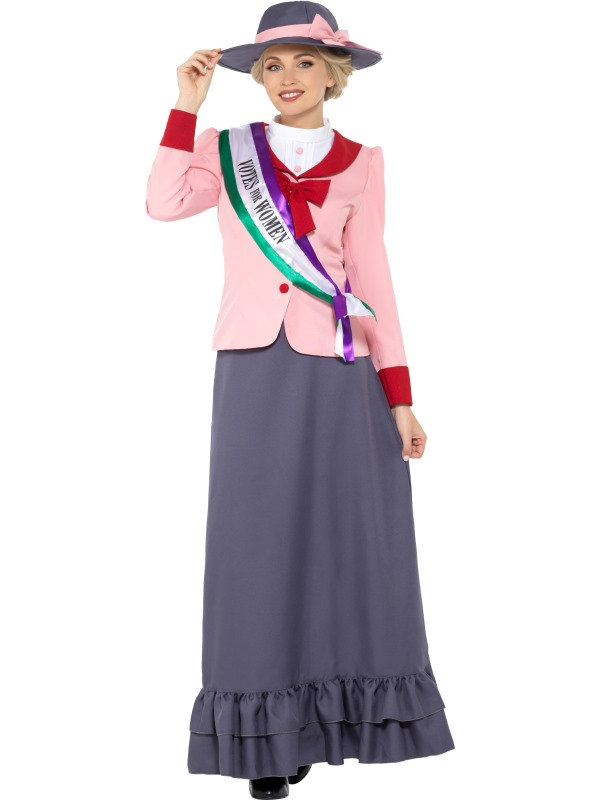 Victorian Suffragette Womens Fancy Dress Costume Outfit Votes Ladies Story 887afa170