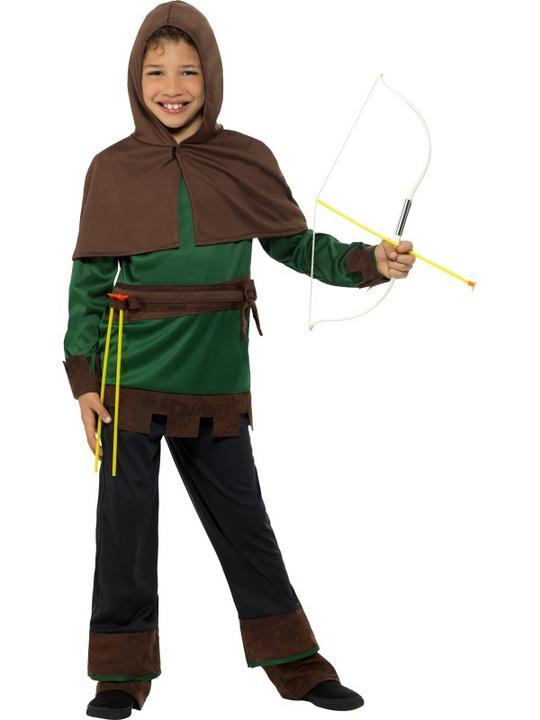 Boys Robin Hood Costume Kids School Book week Fancy Dress Medieval Oufit Thumbnail 1