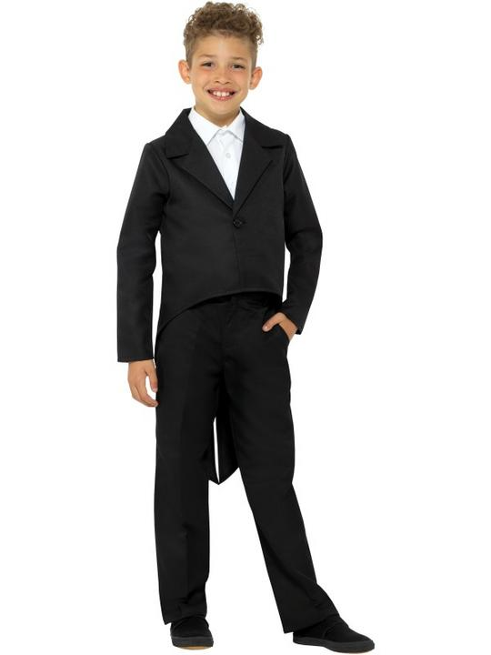 Tailcoat Black Boy's Fancy Dress Costume Thumbnail 1