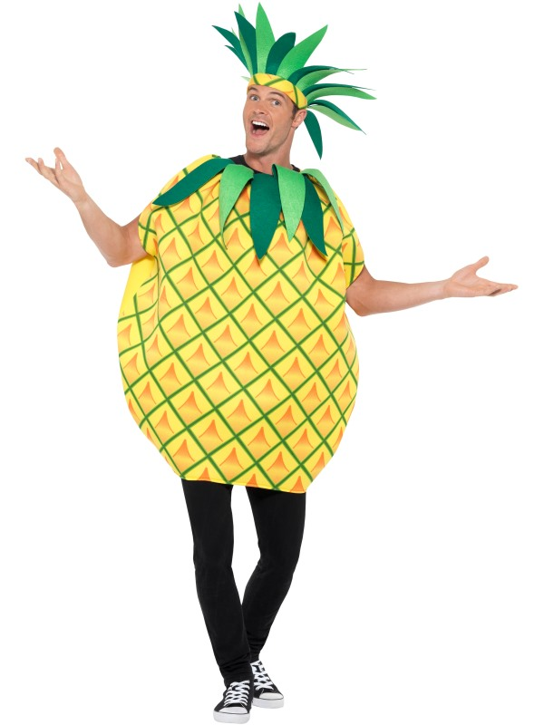 Mens Womens Pineapple Costume Adult Comedy Fruit Food Fancy Dress Outfit