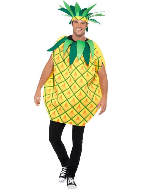 Mens Womens Pineapple Costume Adult Comedy Fruit Food Fancy Dress Outfit Thumbnail 2