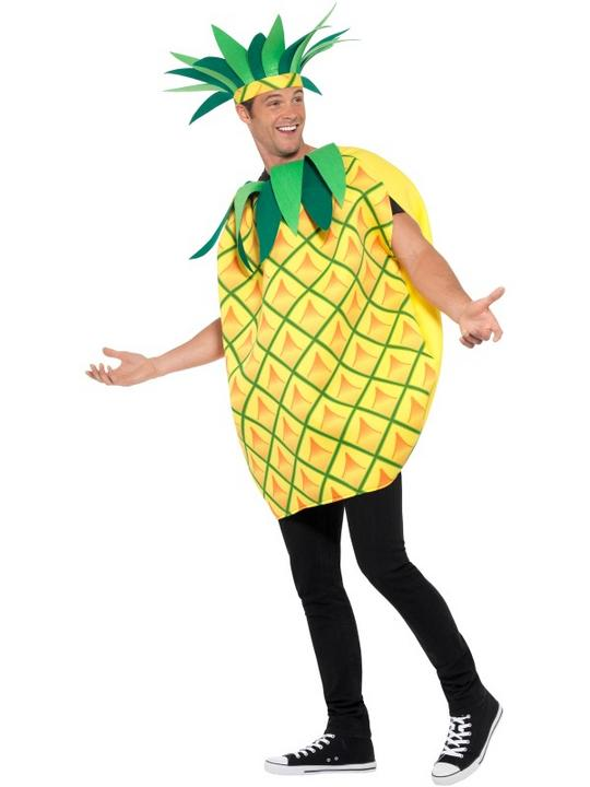 Mens Womens Pineapple Costume Adult Comedy Fruit Food Fancy Dress Outfit Thumbnail 4