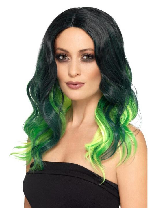 Deluxe Ombre Wig Black and Green Thumbnail 1