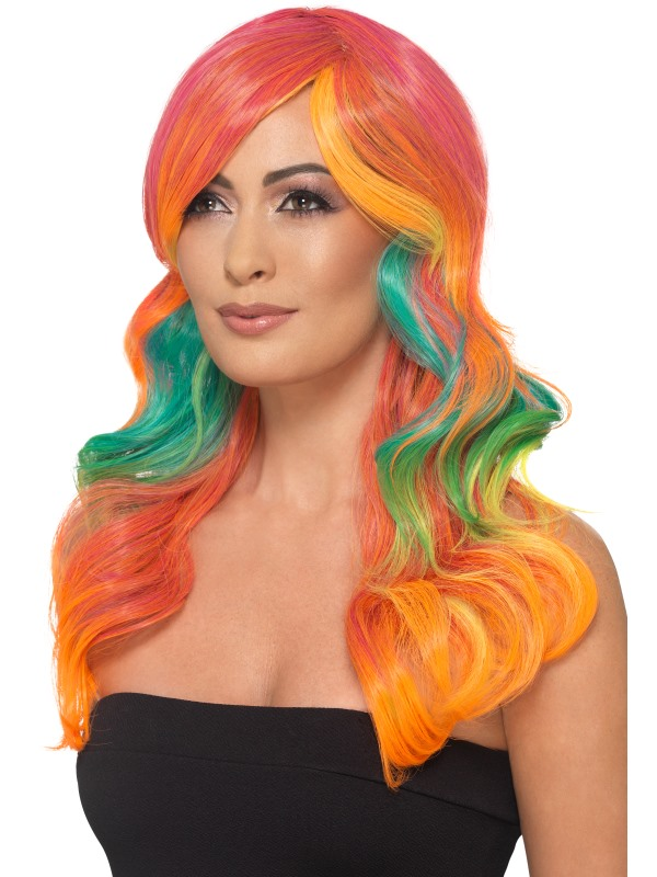 Fashion Rainbow Wig, Wavy, Long