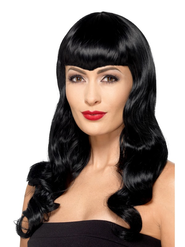 Deluxe Wavy Wig, With Shaped Fringe Black