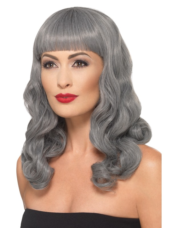 Deluxe Wig Wavy With Fringe grey