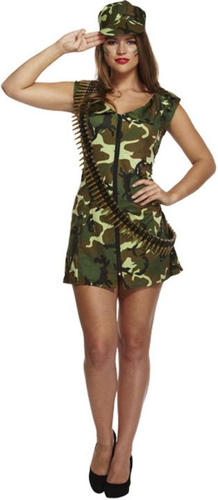 Sexy Army Girl Women's Fancy Dress Costume Thumbnail 1