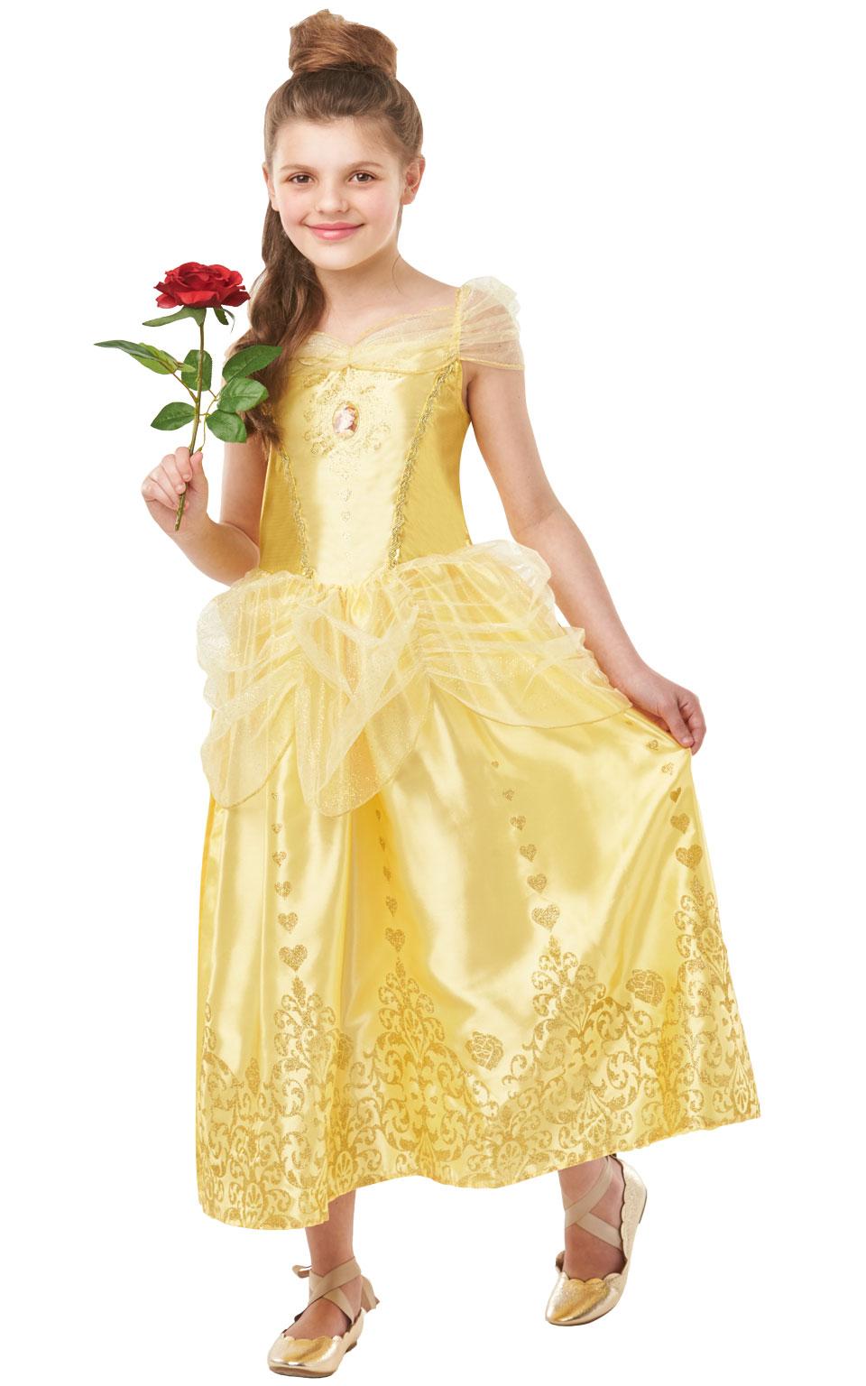 Girls Belle Costume Kids Disney Princess Fancy Dress Fairytale