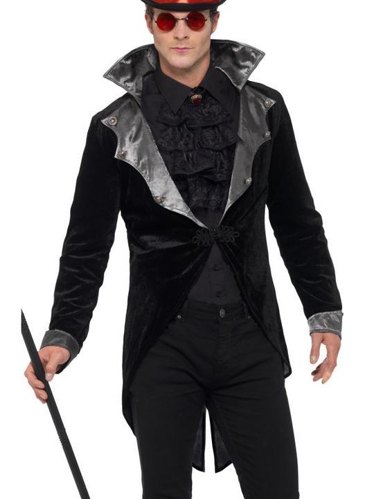 Gothic Vampire Jacket Men's Fancy Dress Thumbnail 1