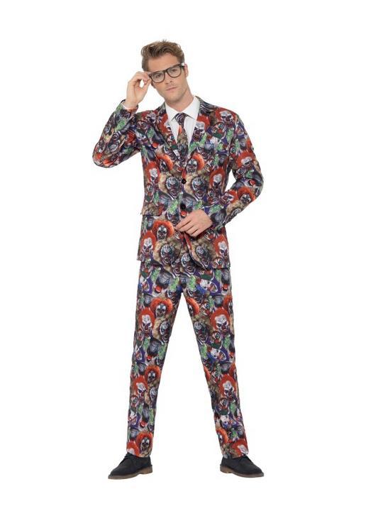 Evil Clown Suit Men's Fancy Dress Costume Thumbnail 1