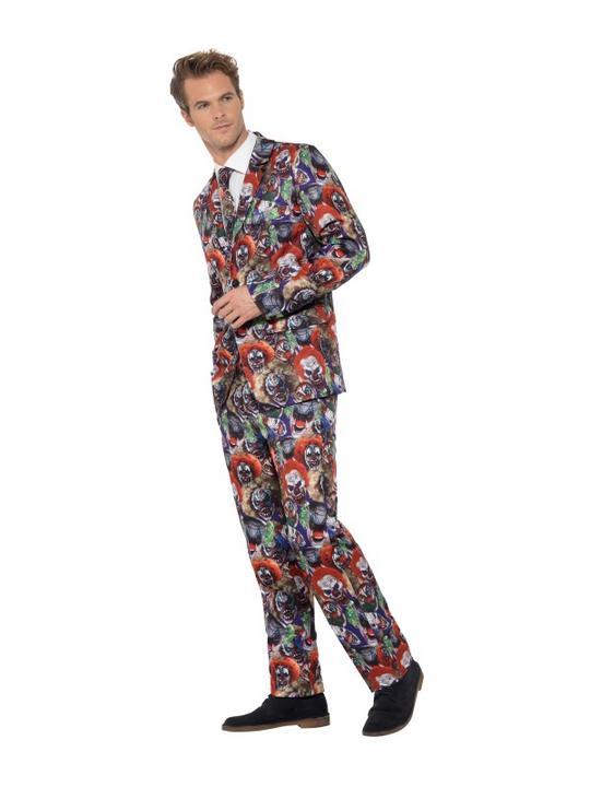Evil Clown Suit Men's Fancy Dress Costume Thumbnail 4