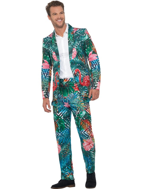 Hawaiian Tropical Flamingo Suit Men's Fancy Dress