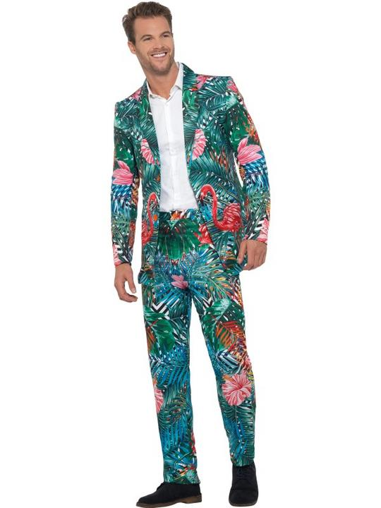 Hawaiian Tropical Flamingo Suit Men's Fancy Dress Thumbnail 1