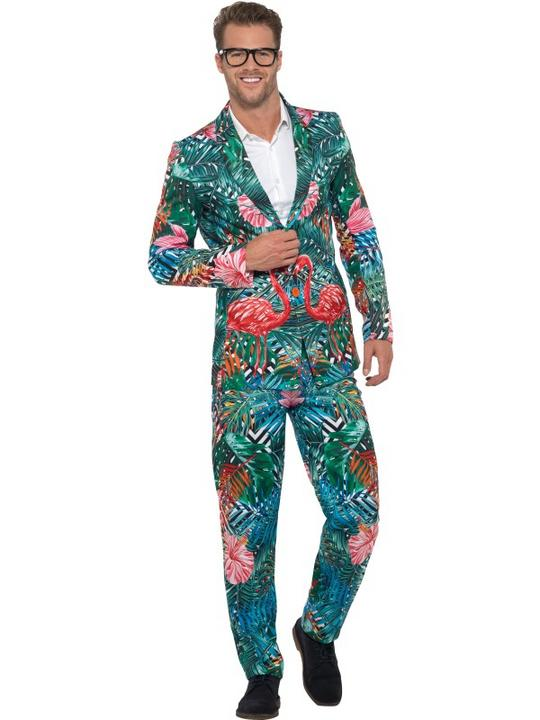 Hawaiian Tropical Flamingo Suit Men's Fancy Dress Thumbnail 2
