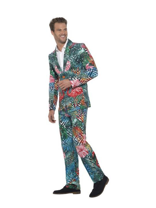 Hawaiian Tropical Flamingo Suit Men's Fancy Dress Thumbnail 4
