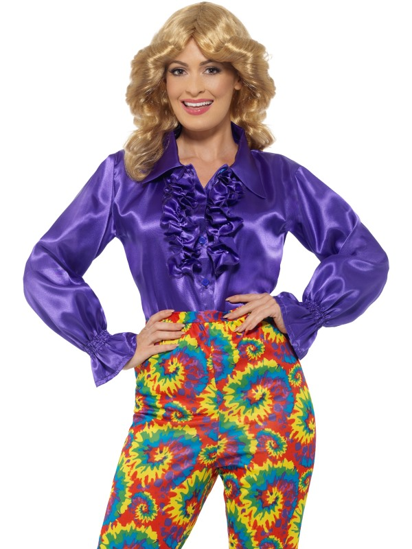 1960s 1970s Ruffle shirt Hippy Hippie Costume Womens Fancy Dress Ladies Outfit
