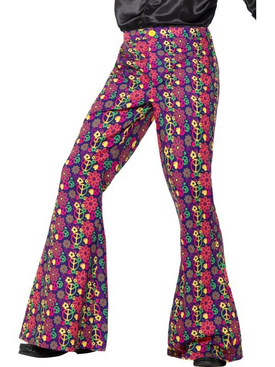60s Psychedelic CND Flared Trousers Men's Fancy Dress Thumbnail 1