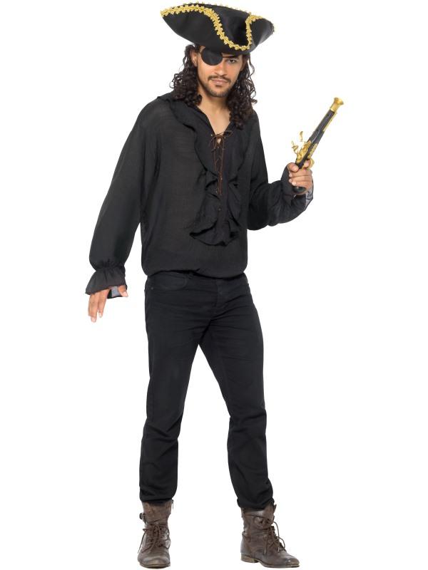 Pirate Shirt Black Men's Fancy Dress
