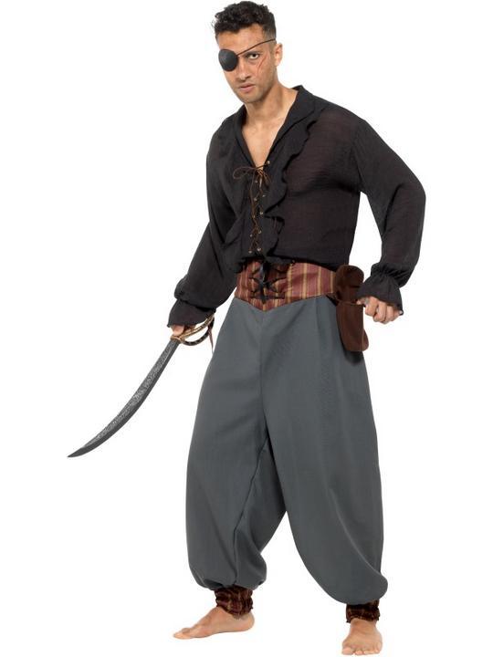Pirate Blouson Pants Trousers Men's Fancy Dress Thumbnail 1