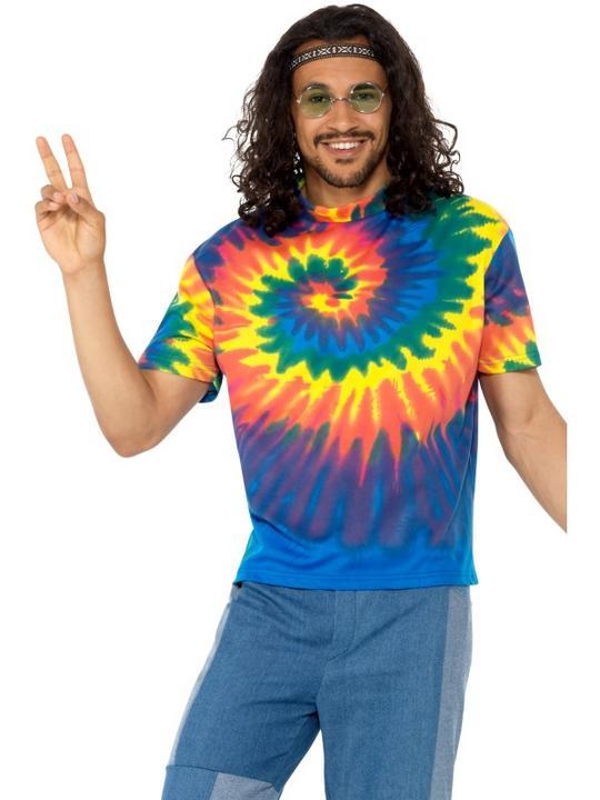 1960s Tie Dye T-Shirt Men's Fancy Dress Thumbnail 1