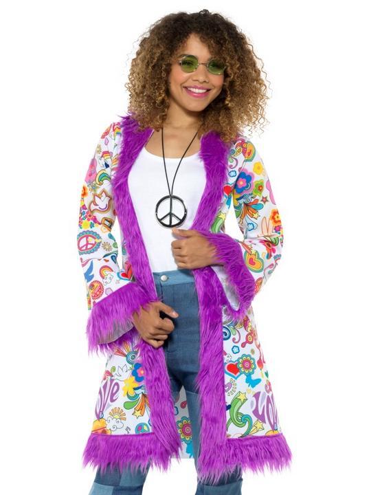 60s Groovy Hippie Coat Women's Fancy Dress Thumbnail 1