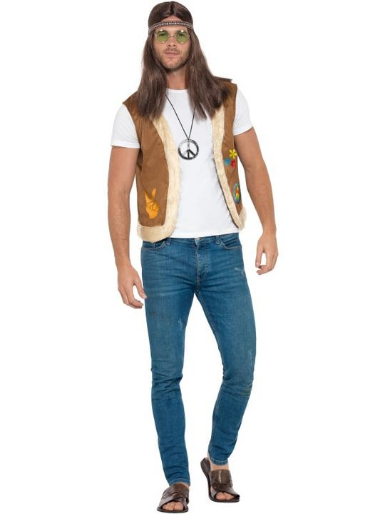 Hippie Waistcoat Unisex Fancy Dress Costume Thumbnail 1