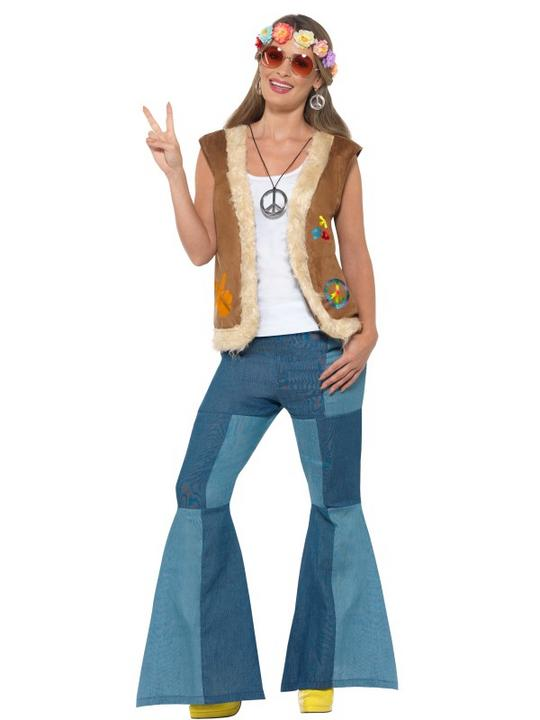 Hippie Waistcoat Unisex Fancy Dress Costume Thumbnail 2
