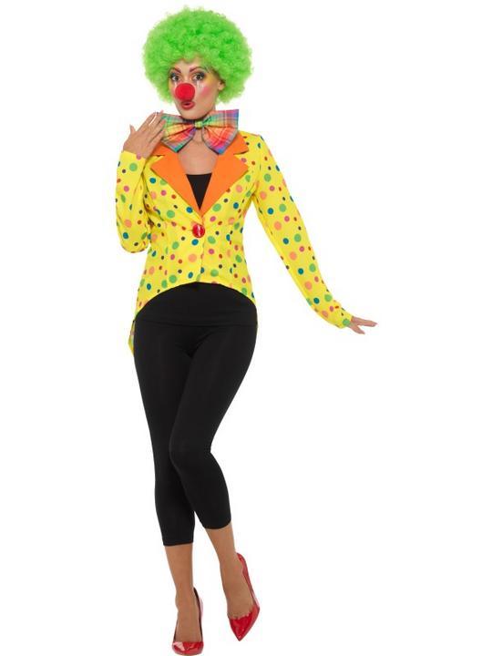 Colourful Clown Tailcoat Jacket Women's Fancy Dress Thumbnail 1