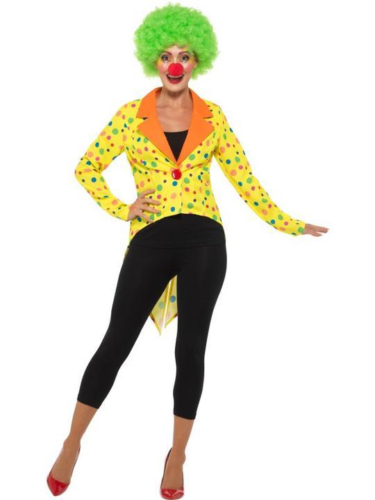 Colourful Clown Tailcoat Jacket Women's Fancy Dress Thumbnail 2