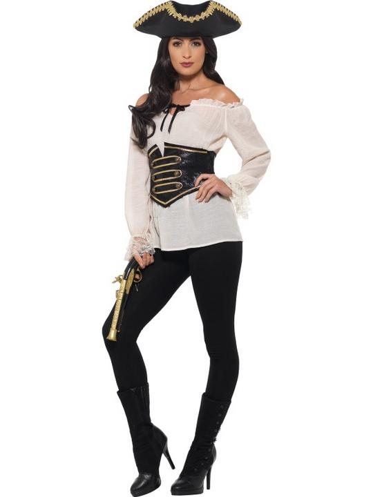 Pirate Caribbean Womens costume Swashbuckler Ladies Fancy Dress Hen Party Outfit Thumbnail 2