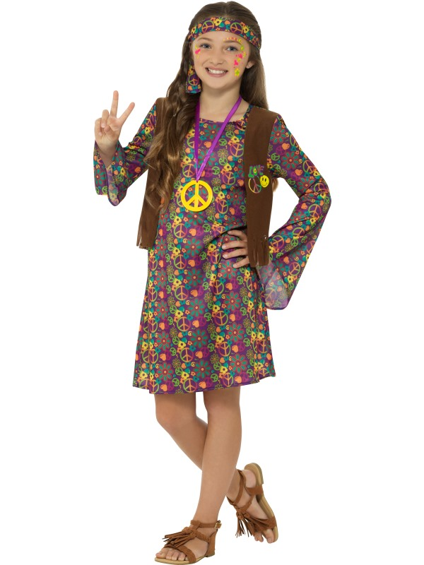Hippie Girl's Fancy Dress Costume