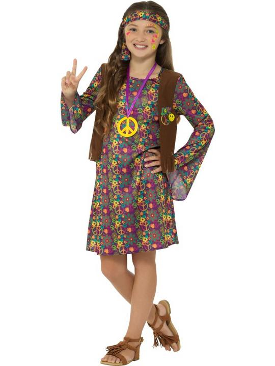 Hippie Girl's Fancy Dress Costume Thumbnail 1