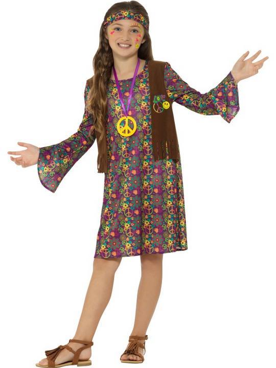 Hippie Girl's Fancy Dress Costume Thumbnail 2