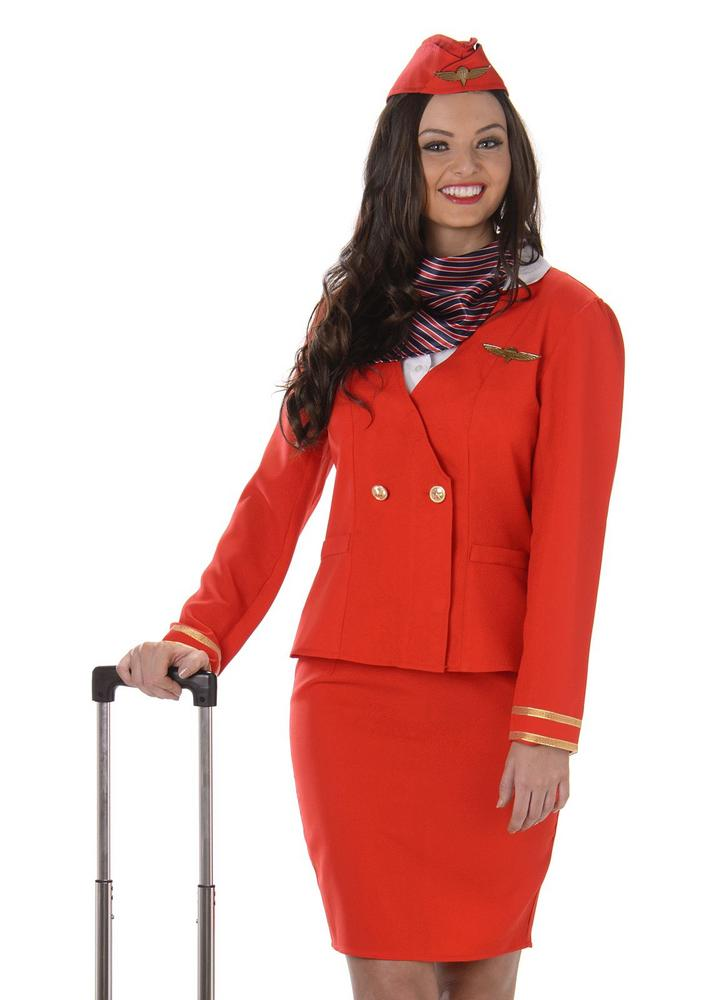 Ladies Red Flight Cabin Attendant Adult Fancy Dress Costume Hen Party Outfit