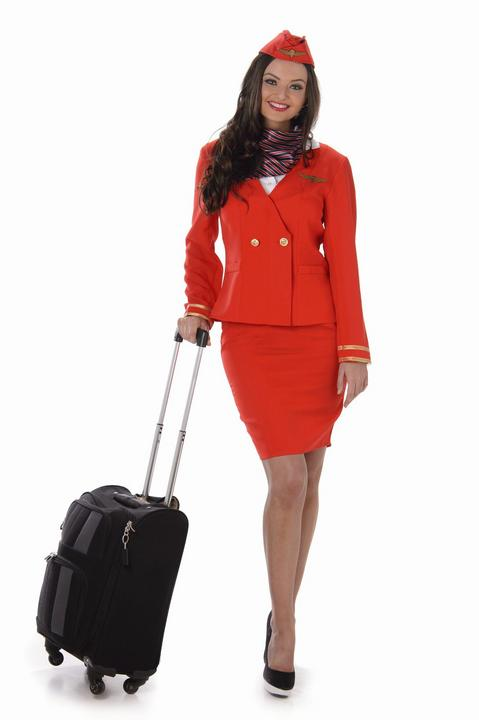 Ladies Red Flight Cabin Attendant Adult Fancy Dress Costume Hen Party Outfit Thumbnail 2