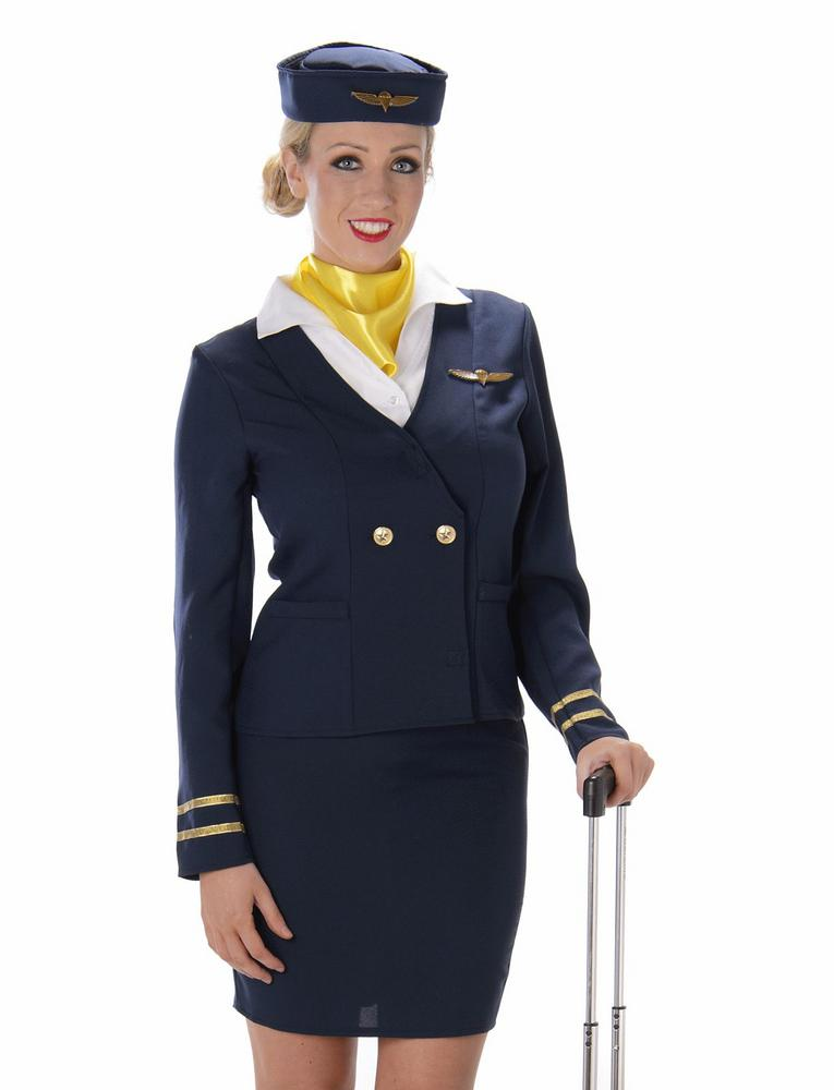 Ladies Blue Flight Cabin Attendant Adult Fancy Dress Costume Hen Party Outfit