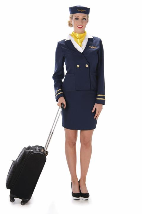 Ladies Blue Flight Cabin Attendant Adult Fancy Dress Costume Hen Party Outfit Thumbnail 2