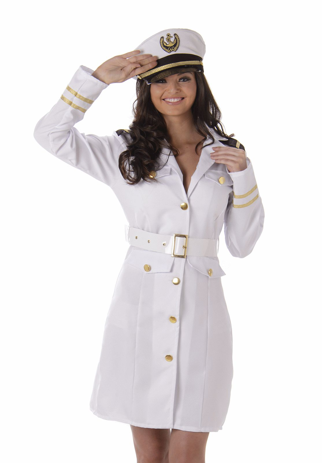 Navy Officer Ladies Sexy White Adult Fancy Dress Costume