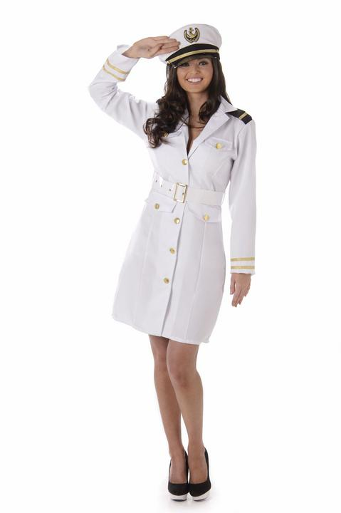 Navy Officer Ladies Sexy White Adult Fancy Dress Costume Hen Party Outfit Thumbnail 2