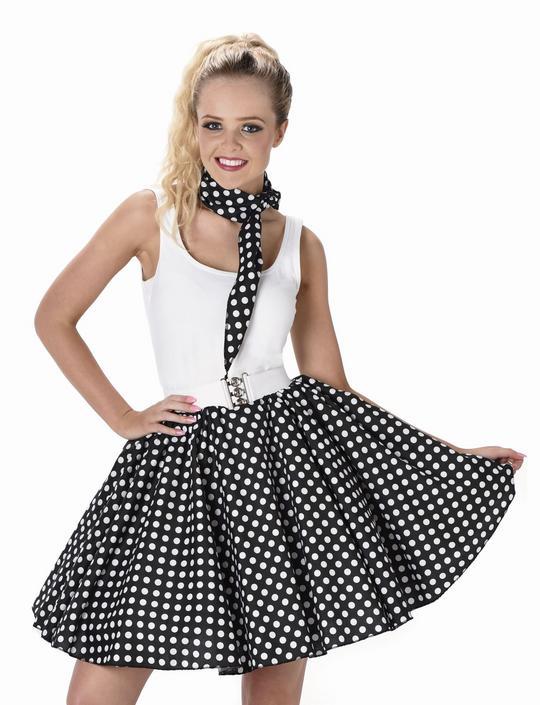 Ladies 1950s Black Polka Dot Skirt & Necktie 50s Adult Fancy Dress Costume Thumbnail 1