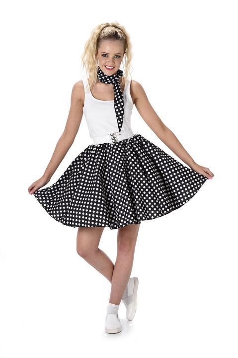 Ladies 1950s Black Polka Dot Skirt & Necktie 50s Adult Fancy Dress Costume Thumbnail 2