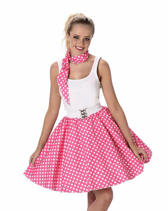 Ladies 1950s Pink Polka Dot Skirt & Necktie 50s Adult Fancy Dress Costume Outfit Thumbnail 1