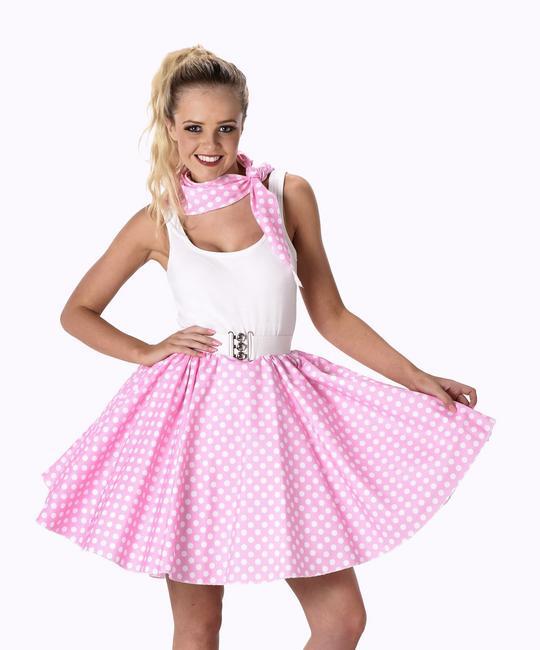 Ladies 1950s Light Pink Polka Dot Skirt & Necktie 50s Adult Fancy Dress Costume Thumbnail 1