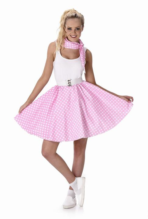 Ladies 1950s Light Pink Polka Dot Skirt & Necktie 50s Adult Fancy Dress Costume Thumbnail 2