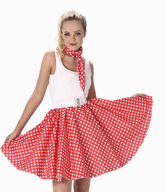 Ladies 1950s Red Polka Dot Skirt & Necktie 50s Adult Fancy Dress Costume Outfit Thumbnail 1