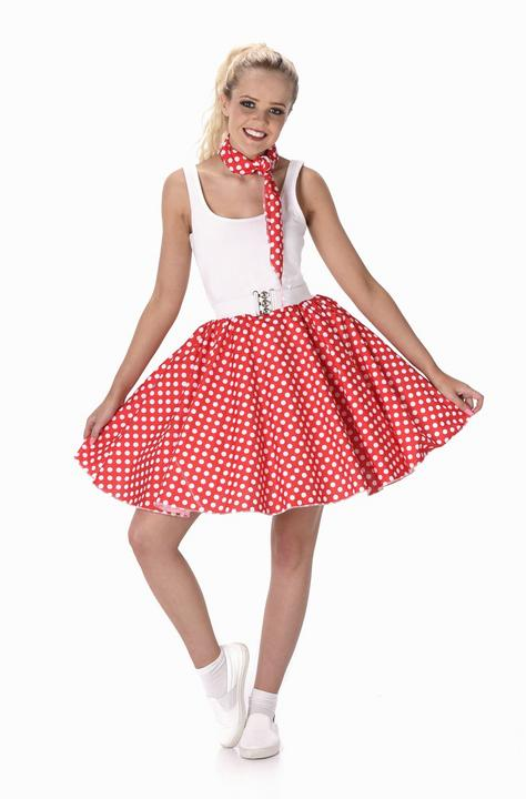 Ladies 1950s Red Polka Dot Skirt & Necktie 50s Adult Fancy Dress Costume Outfit Thumbnail 2