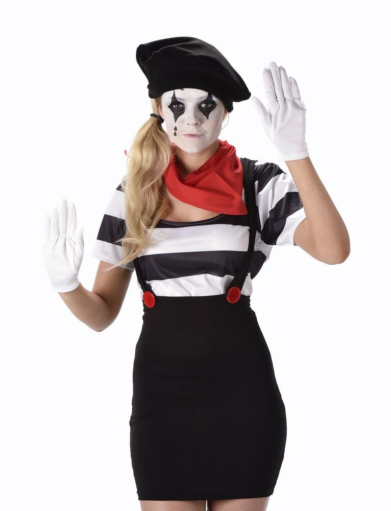 French Mime Artist Adult Fancy Dress Costume Party Outfit Ladies Black And White