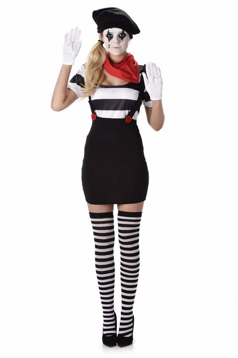 French Mime Artist Adult Fancy Dress Costume Party Outfit Ladies Black And White Thumbnail 2